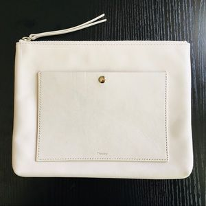 Theory White Leather Zip Pouch/Clutch with Pocket